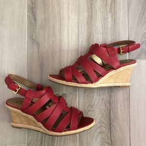 Chaps Size 8B Dallyn Red Wedge Sandals
